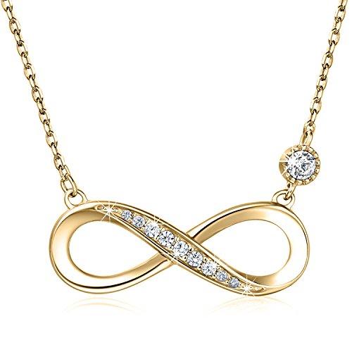 """925 Sterling Silber Halskette - Billie Bijoux\""""Endless Love\"""" Infinity Herz Anhänger weißes Gold überzogene Diamant Frauen einstellbare Halskette (gold)"""