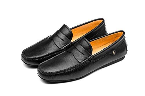 Rétro Style Chaussures Bateau pour Homme Neuf Noir