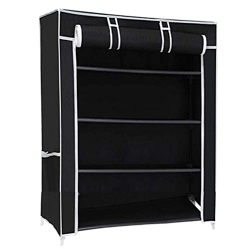 Ebee Store Metal Collapsible Shoe Stand  Black, 4 Shelves