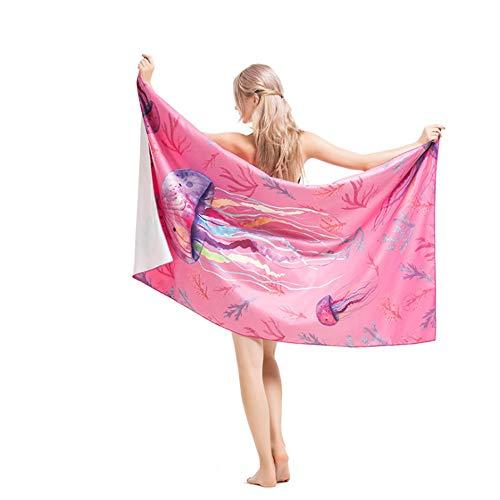 Serviette de plage Méduse rose En Microfibre Serviette De Bain Liquidation Séchage Rapide Surdimensionné Carré Adultes Femmes Plage De Pique-nique Couverture Tapis De Yoga Compact Super Absorbant Avec