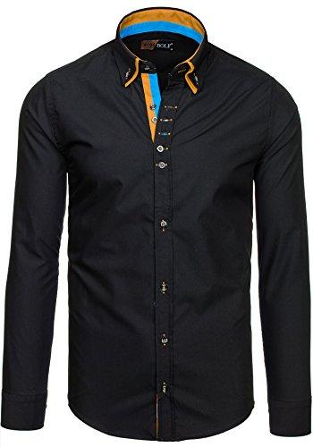 BOLF – Chemise casual – avec manches longues – BOLF 3708 – Homme Noir