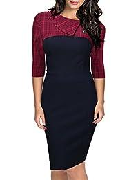 Miusol® Damen Elegant Vintage Kleid 3/4 Arm Knielanges Abendkleid Business Party Cocktailkleid Gr.36-46