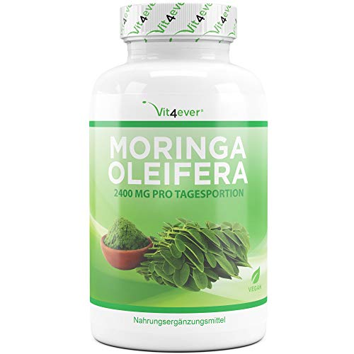 Vit4ever® Moringa 600-240 Kapseln - 600 mg pro Kapsel - Laborgeprüft - 2 Monatsvorrat - Hochdosiert mit 2400 mg pro Tagesportion - Natürliches Moringa Oleifera Blattpulver - Vegan - Vit4ever