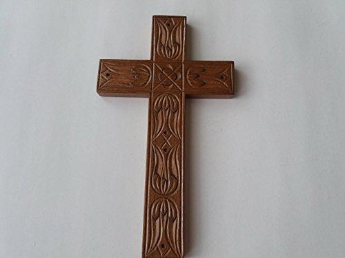 Handgeschnitzt braun 21x12 cm Holz Kreuz, religiöses katholisches Christian Symbol Geschenk für Taufe, erste Kommunion, dekorative Wand Kreuz Kruzifix Kunsthandwerker -