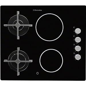 Electrolux EGE6172NOK hobs – Placa (Integrado, Combinado, Vidrio y cerámica, Giratorio, Arriba a la derecha, 1,1m) Negro