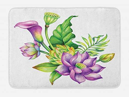 ARTOPB Watercolor Flower Bath Mat, Exotic Asian Blooms Lily Lotus Herbs Nature Bridal Chinese Bouquet, Plush Bathroom Decor Mat with Non Slip Backing, 23.6 W X 15.7 W Inches, Green Purple -