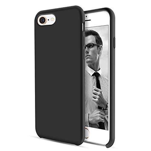 DUEDUE iPhone 8 Hülle, iPhone 7 Hülle Slim dünne Handyhülle iPhone 8 Slim case Liquid Silikon Gel Matte Hülle Kratzfest Silikon Case für iPhone 8 / iPhone 7 (4.7 Zoll) Schwarz Silikon Gel Case