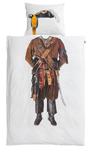 Snurk biancheria da letto in percalle Pirate, Cotone, bianco, 135 x 200 cm + 80 x 80 cm