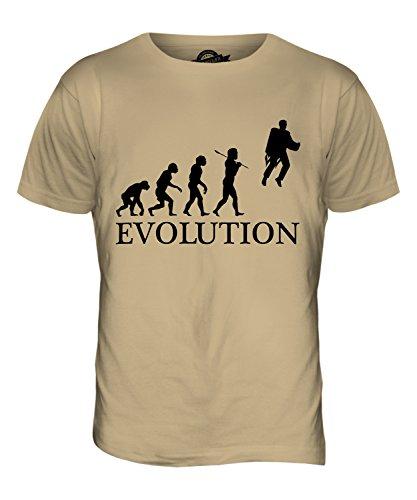 CandyMix Raketenrucksack Jetpack Evolution Des Menschen Herren T Shirt Sand