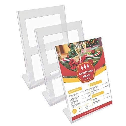 Kurtzy Confezione da 3 Segnatavolo Porta Menu Ristorante Plastica Acrilica Trasparente Supporti Bancone A4 30 x 21.5 - Set Cornici Poster Documenti Commerciali