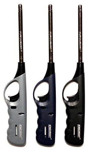 KONSUMANY Stabfeuerzeug Gasfeuerzeug 27 cm Lang Nachfüllbar (3x Lieferung in 3 verschiedenen, Farben)
