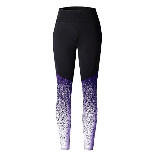 UFACE Damen Farbverlauf Yoga Strumpfhosen Sport Yoga Training Hohe Taille Laufhose Fitness Elastische Leggings (XL/(42), Violett)