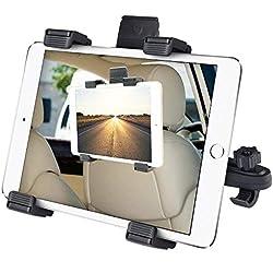 Support Tablette Voiture Universel, Vegena Porte Tablette Voiture Réglable 6-11 Pouce pour Appuie-tête, Rotation 360°, Taille Réglable pour iPad 2/3 / 4 / Mini/Air, Samsung Galaxy Tab (Noir)
