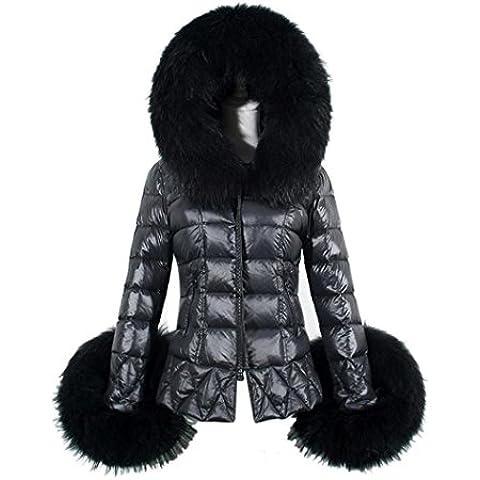 Koly T0542-D mujeres algodón manga larga cuello de piel por la chaqueta,Negro (XL)