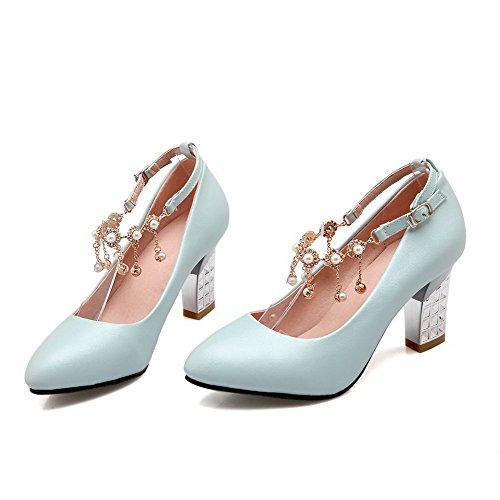 VogueZone009 Damen Rein Hoher Absatz Spitz Zehe Schnalle Pumps Schuhe Blau