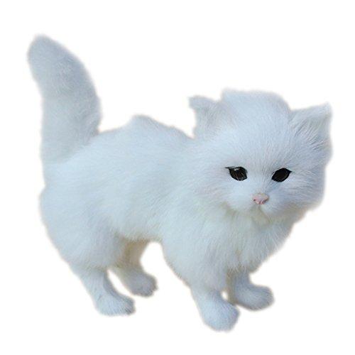 MagiDeal Mini Imitation Animal Artificielle Décoration Jardinage Blanc - chat , 23cm