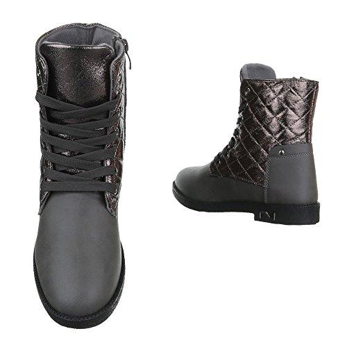 Boots / Bikerboots Damenschuhe Blockabsatz Schnürer Ital-Design Stiefeletten Grau