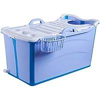 WENJUN Bañera Plegable para Adultos Bañera para Adultos Bañera Plegable Grande Bañera para Bebés Bañera para Adultos Inicio Tapa Engrosada (Color : Azul, Tamaño : 95 * 52 * 53 cm)