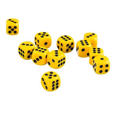 Hellery 50x 12mm Undurchsichtige Runde Ecke Sechs Seitige Stelle Würfel D6 Für Dungeons Und Drachen Spielzeug - Gelb - Würfel Gelb 12mm In