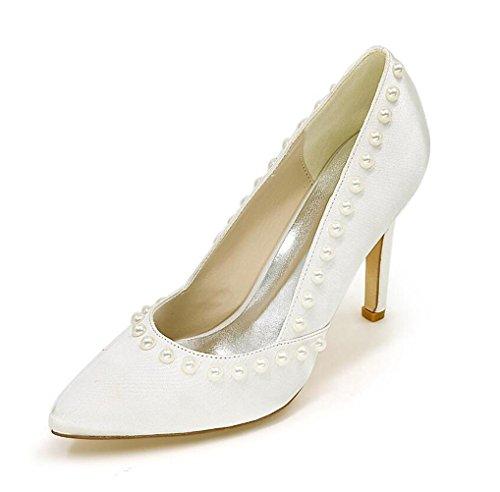 Ei&iLI raso scarpe da sposa perla alti talloni delle donne abito da damigella d'partito TAGLIA EU35-EU43 Pink
