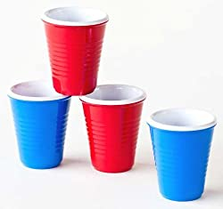 Solo Shot Novelty Melamine Mini Party Plastic Cups Shot Glasses-2 Red-2 Blue by 180 Degrees