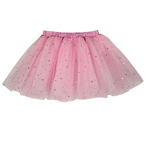 a92746ff6 Buenos Ninos Girl's 3 Layers Sequin Ballet Dance Skirt with Sparkling Stars  Dress-up Tutu Pink