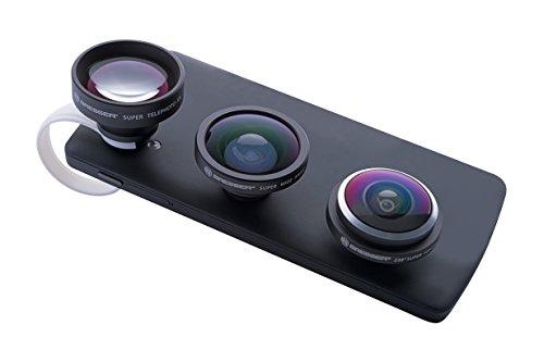 Bresser 8911005 Linse, 3-er Set mit 150 Grad Super Weitwinkel, 238 Grad Fisheye, 5x Teleobjektiv für Smartphone/Tablet schwarz