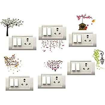 DecorVilla Switch Board Wall Sticker (PVC Vinyl Film, Multicolour, 25x25 cm) - Set of 6