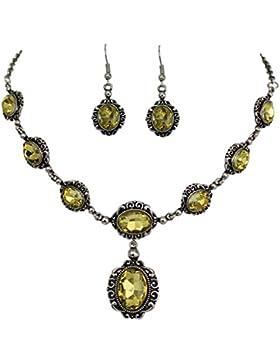 Elegantes Trachtenschmuck Dirndl Collier Set - bestehend aus Collier und Ohrringen Olivine Oliv grün
