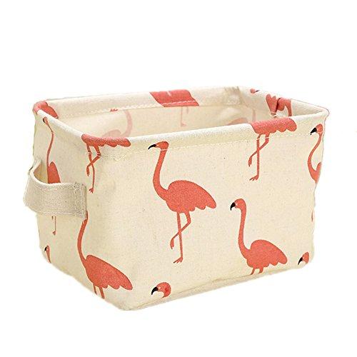 Cartoon-muster Leinwand (Qinlee Leinwand Aufbewahrungsbox Kleidung Spielzeug Badezimmer Organizer Cartoon Muster Stoffbox Storage Box (Rot Flamingo))