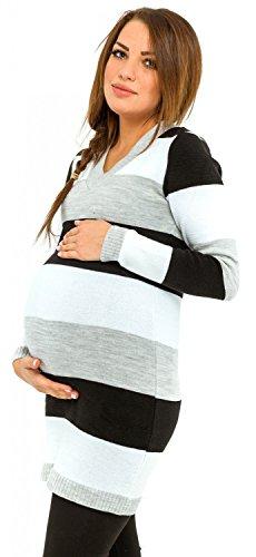 Happy mama donna vestito prémaman in maglia a righe multicolori. 405p (nero, one size it 40/42/44)