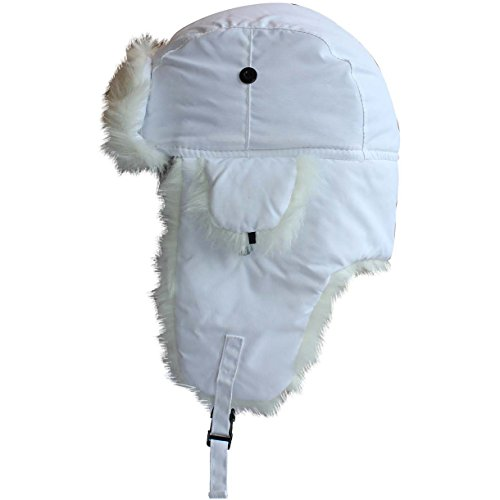 White With White Fur Trapper Hat Fur Lined Russian Cossack Ski Hat
