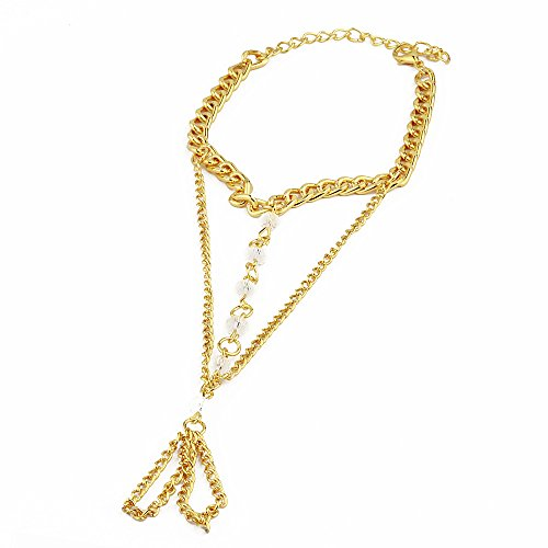 STRIPES Presents EID Special gold plated metal hand chain,bracelet with ring attached...