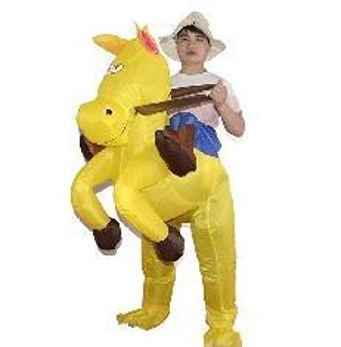 ypyrhh Traje Hinchable, Disfraz de Halloween, Caballo Inflable, Ropa Animal, Ropa para Caminar, Pantalones mágicos, Amarillo Adecuado para una Altura de 150-185cm