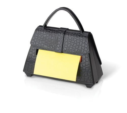 Post-it PU-300 Z-Notes Spender Fashion Bag (inkl. 1 Block Z-Notes á 100 Blatt, alternierend gelb/pink, 76 x 76 mm) schwarz