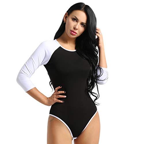 Agoky Damen Body Baseball Langarm T-Shirt Frauen Sportlich Overall Bodysuit Rundhals Patchwork Bluse Top mit Ouvert Slip Schwarz X-Large -