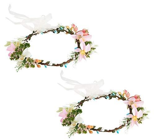 Paquete de 2 diademas de flores ajustables, guirnaldas de corona para niñas y mujeres, ideal para bodas, festivales, eventos nupciales, fiestas, hippies, talla única, 7 x 6.2 pulgadas