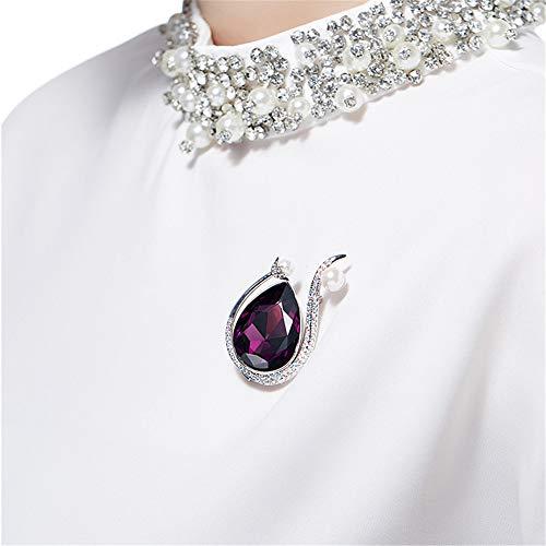 Peggy Gu schmuck Eleganter Stil Brosche Kristall bedeckt Pullover Schals Schal Clip für Frauen Damen Mädchen violett kostüm - Accessoire
