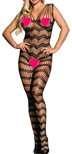 marysgift Frauen Fischnetz Open Crotch Body Strumpf Bodysuit Dessous Catsuit Reizwäsche Fishnet Bodystocking , Schwarz (Dh3002), XL = 42 44 46 48 50