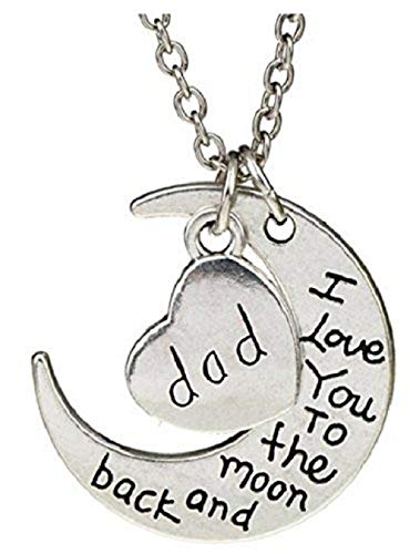 Vater Weihnachten Kostüm - KIRALOVE Halskette Silber Herz Relatives I Love You from The Moon On My Return I Love You to The Moon and Back Familie Gravur Vater Geburtstag Weihnachten Kostüm Schmuck
