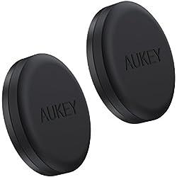 AUKEY Support Voiture Téléphone Magnétique ( 2 Pack ) Collé Solide sur Tableau de Bord Support Adhesif Voiture pour iPhone 7 / 7 Plus / 6 , Samsung Note 8 / S8 , Echo Dot et les autres Smartphones