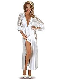 bc352f3fe7 Ladies Adult Full Length Satin Bridal White Dressing Gown Robe Nightdress  Matching Thong 8 10 12