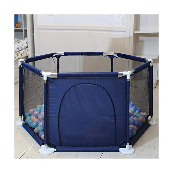 lā Vestmon Kids Baby Indoor Outdoor Safety Game Playpen Fence Children's Game Folding Fence Colorful Ball Pool Tent Game House Play Fence Six Sided Fence  1.Thickened details and selected design: it features widened base and thickened pipe, which helps the baby to learn to walk and does not hurt the baby's hands. 2. Safety and stability: It features 65.5cm safety height, stable hexagonal design, no rollover, and firm stainless steel frame; it features thickened pipes to help the baby to learn to walk and round tube piecing safety design to prevent hurting the baby's hands. 3.Environmentally friendly materials: It features DDPE environmentally friendly materials, high-density sewing, which makes it durable and not easy to break; It features high-density mesh, 5-sided mesh high-density for ventilation and a visual design, and the baby can not break it. 8