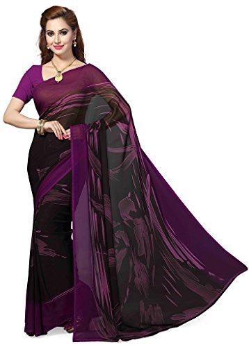 Ishin Faux Georgette Black & Purple Printed Women's Saree With Blouse.  available at amazon for Rs.499