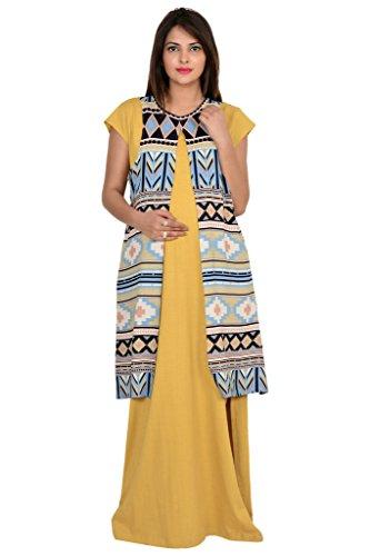 9TEENAGAIN MATERNITY MAXI DRESS WITH PRINTED SHRUG