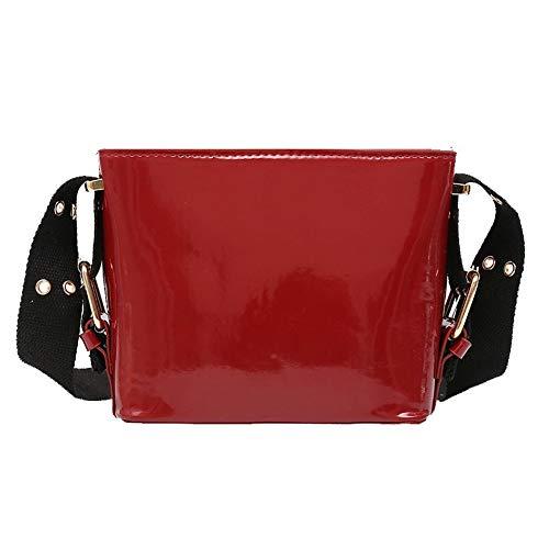 AgooLar Donna Moda Borse Luccichio cerniere Borse a tracolla,GMMBA204830,Rosso