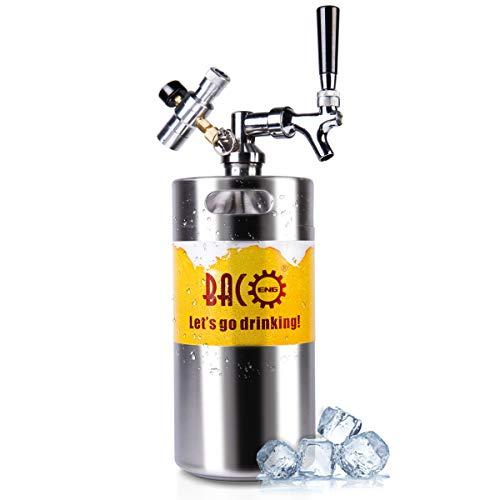 BACOENG 3.6L Bierzapfanlage für selbstgemachtes Bier- mit Bierausschank, Mini CO2 Regulator und 3.6L Edelstahlbierfass