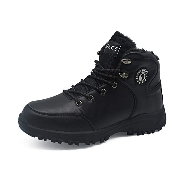 COFACE Mens Winter Snow Hiking Boots Leather Warm Faux Fur Lined Outdoor Walking Shoes 1