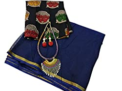 SilverStar Womens Plain Chanderi Cotton Sari With Kalmkari Print Blouse With Necklace And Latkan Accessorise (Neavy Blue)