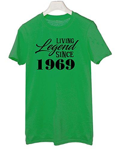 Tshirt living legend since 1969 - idea regolo compleanno - happy birthday - Tutte le taglie by tshirteria Verde